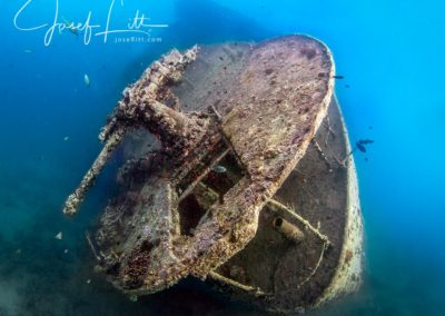 The stern of the Thistlegorm, Egypt. Morning natural light only. © Josef Litt